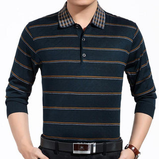 Long Sleeve  Striped Polo Fashion Brand Men's Shirts