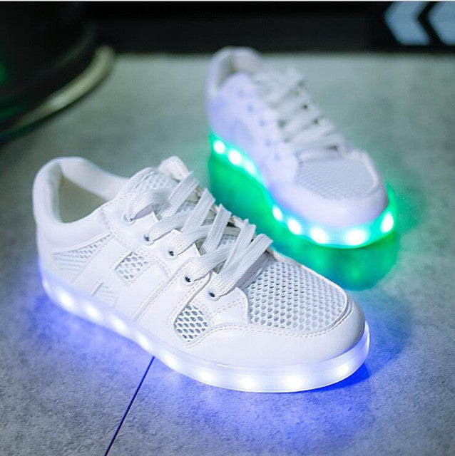 size 40 251b8 3b78c Size 35-40 Children USB chargable shoes spring summer breathable LED  Luminous shoes Boys Girls Colorful LED kids Glowing sneaker