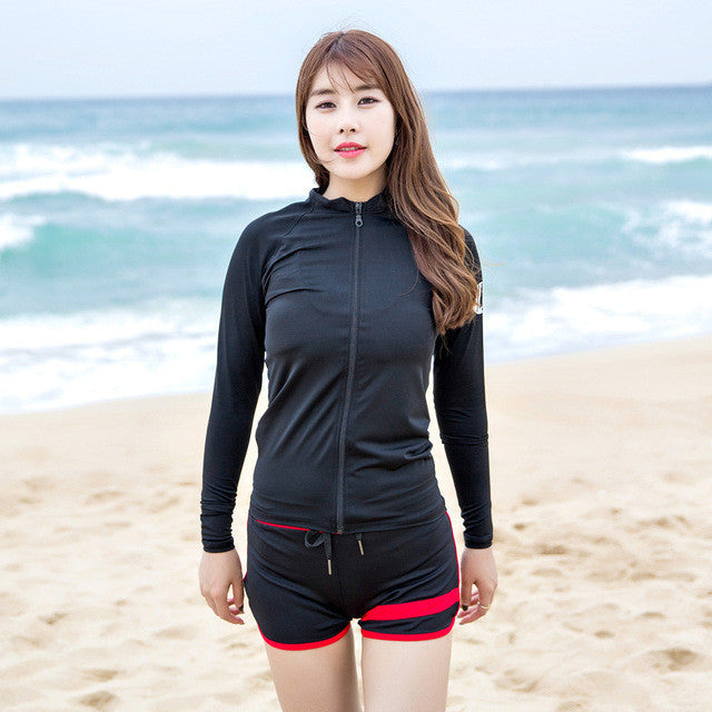2017 Couple Swimsuit Rash Guards Quick Dry Snorkeling Swimwear Wetsuits Short Men Women Surfing Long Sleeves Diving Suits 6017 - Deals Blast