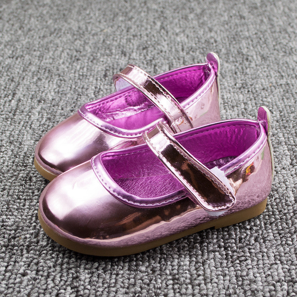 2017 Fashion Baby Girl Shoes Princess Simple PU Patent Leather Kids Shoes For Girls Children's Loafers EU 21-25 Pink Gold - Deals Blast