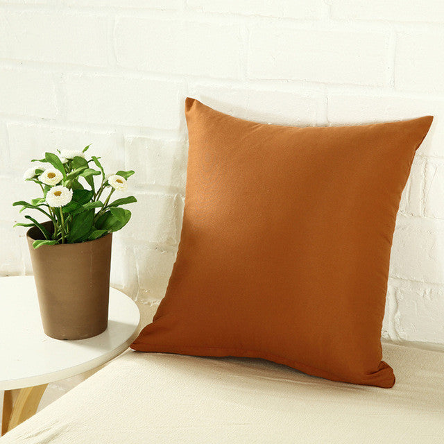 2 Size Solid Square Shape Back Throw Cushion Decorative Pillow Case Cover Soft Cotton Blended Pillowcase Home Decor - Deals Blast