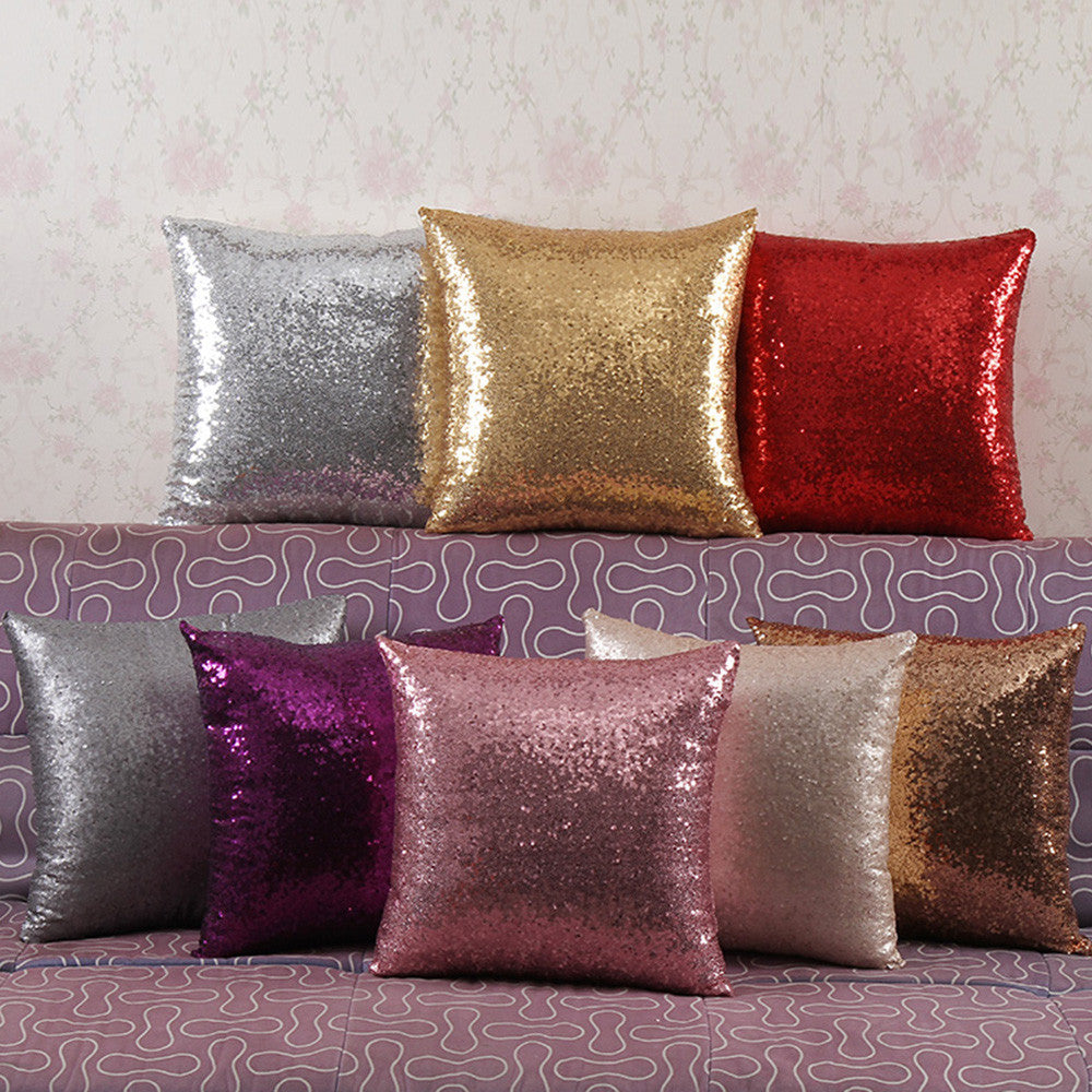 "16"" Solid Color Glitter Sequin Pillowcase Bling Shiny Throw Pillow Case Cushion Cover Pillowcover Home Car Decorations - Deals Blast"