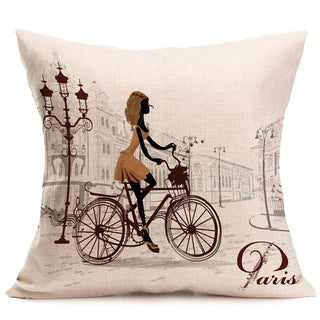 45x45cm Bicycle Bike Pattern Pillow Case Cotton Linen Cushion Cover Car Office Sofa Throw Pillowcase Square Almofadas Home Decor: Deals Blast