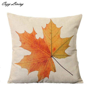 Halloween Pillow Cases 45*45CM Vintage Linen Pillow Case Maple Leaf Pillow Covers Fashion Pattern Square Pillowcases - Deals Blast