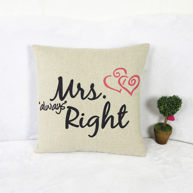 2017 Cotton Cartoon Sheets Couple Lover Mr & Mrs House Sofa Throw Pillow Case Pillow Case House Pillowcase Present - Deals Blast
