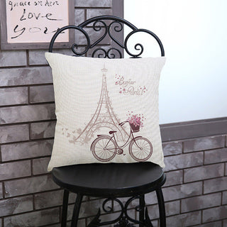 Leaning Tower Cartoon Linen Decorative Bicycle Cushion Cover Sofa Throw Pillow Case Chair Car bed Eiffel Tower Pillowcase: Deals Blast