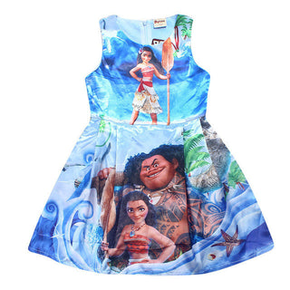 2017 Summer Girl Dress Moana Princess Dress Baby Girls Dresses Children Pearl Party Halloween Costume Kids Girl Clothes - Deals Blast