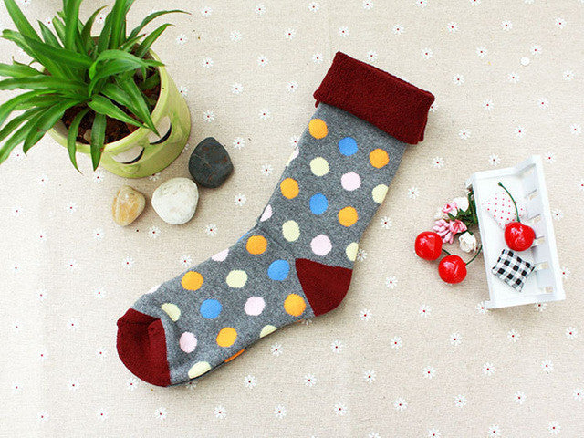 1PAIRS New thick colour dot HAPPY funny socks women hosiery cotton terry galling socks - Deals Blast