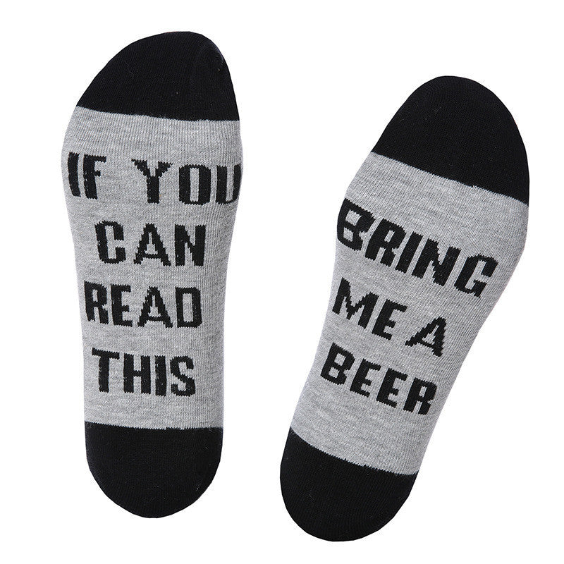"2017 Fashion Socks Women Men Unisex solid Wine Socks printed ""If You Can Read This Bring Me A Glass Of Wine""  free shipping - Deals Blast"