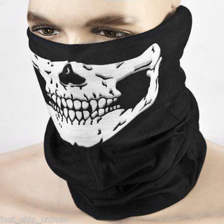 Halloween Half Face Skull Skeleton Mask Cap Neck Ghost Scarf Outdoor Motorcycle Bicycle Headwear Hat Scarf - Deals Blast
