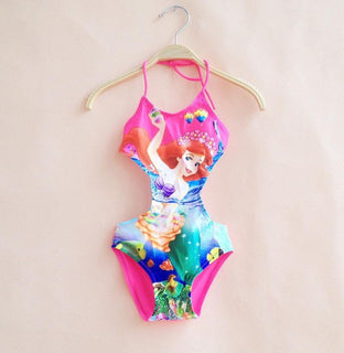 Siamese Mode Mermaid Print Girls Bathing Suit Cartoon Lacing New Children Bikini One Piece Baby Kids Swimwear Hot Sale - Deals Blast