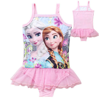 4-12 Years Girls Elsa Swimsuit Children Girls Lovely Pink Swimwear Kids Girls Summer Beach Wear Girls Swimsuit 2017: Deals Blast