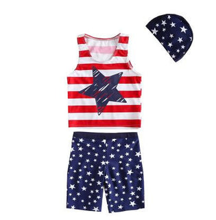 New Striped Swimsuits for Boys Girls 2017 Summer Red White Kids Swimwear with Hat High Quality Two Pieces UV Swimming Clothes - Deals Blast