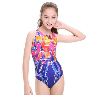 children swimwear kids swimming racing suit competition swimsuits girls professional swim solid child - Deals Blast