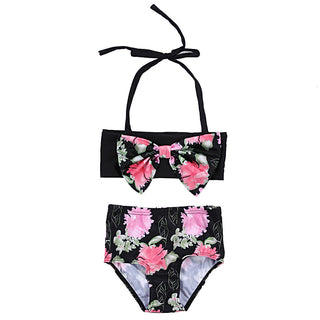 Summer Kids Girls Two Pieces Floral Printed Bow Bikini Bandage Swimsuit - Deals Blast