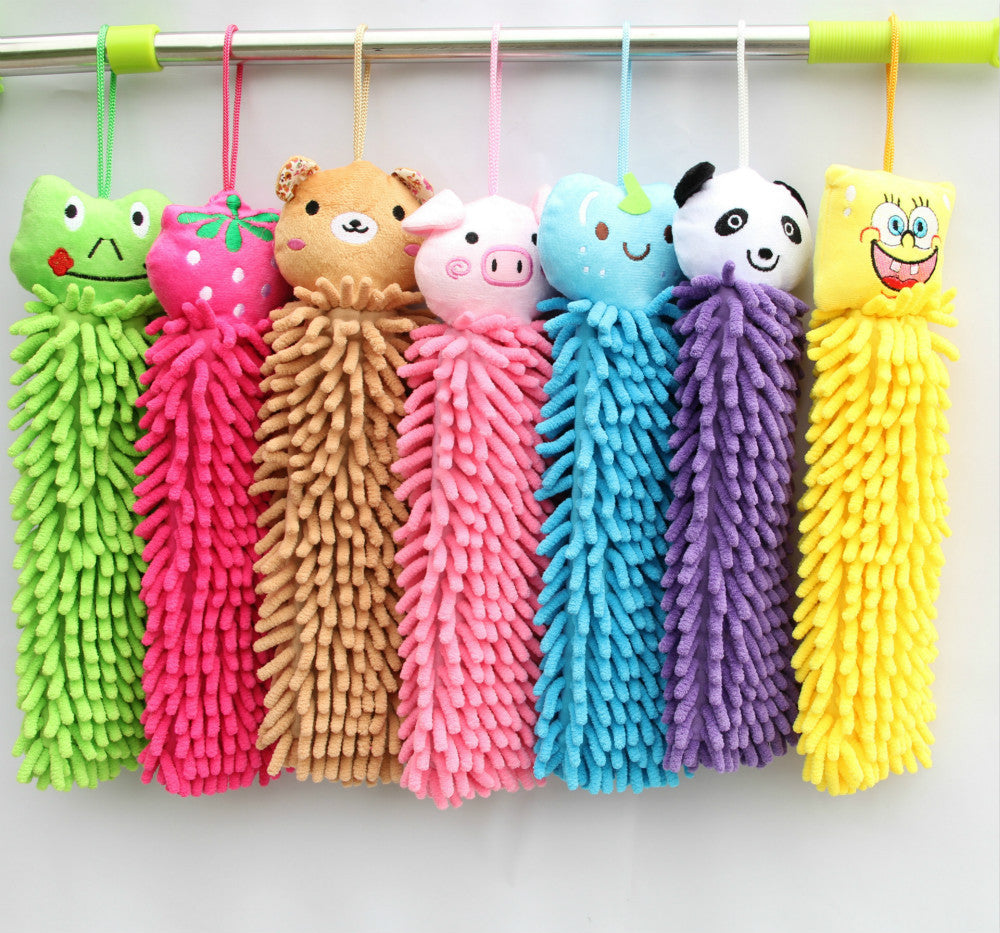 1 Piece Lovely Cartoon Animal Hanging Chads Hand Towel Wipe Towel Hanging Bath Hair Dry Towel Kitchen Cleaning Tool - Deals Blast