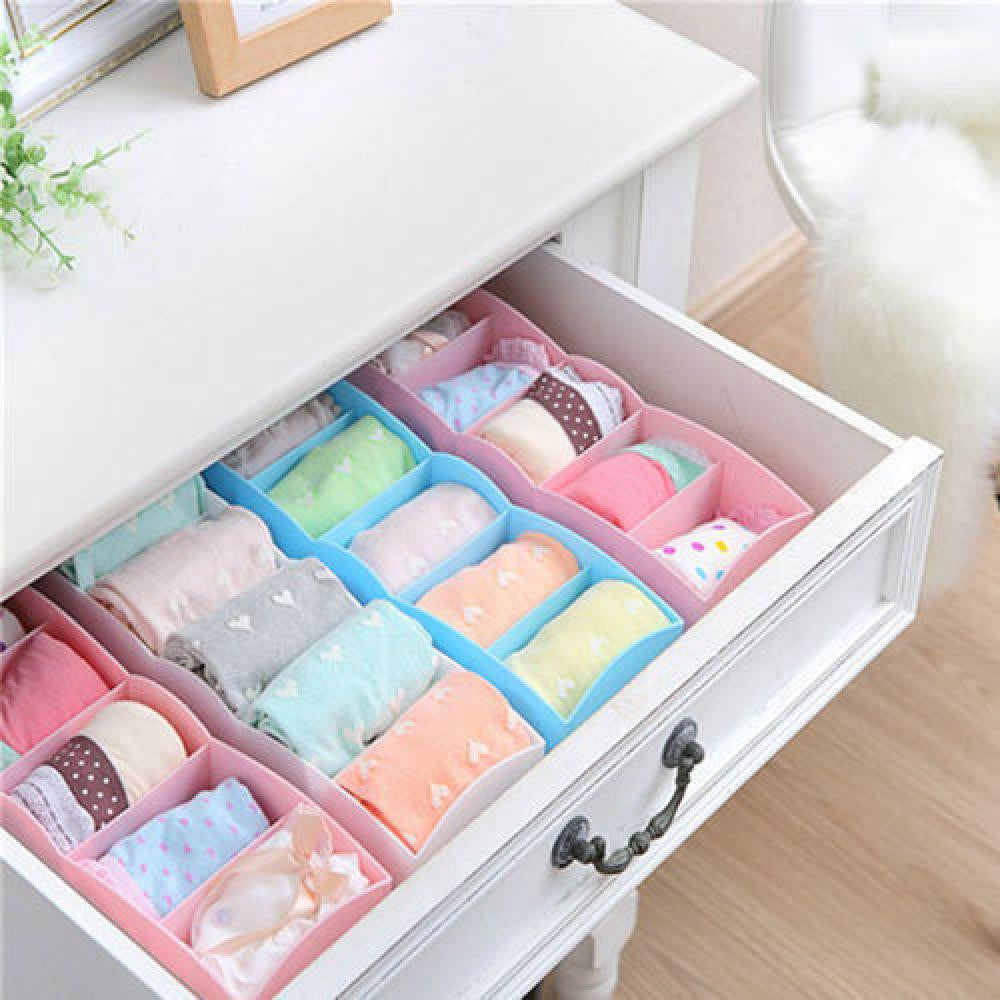 1Pc Hot New Home Storage 5 Cells Plastic Organizer Storage Box for Tie Bra Socks Drawer Cosmetic Divider - Deals Blast
