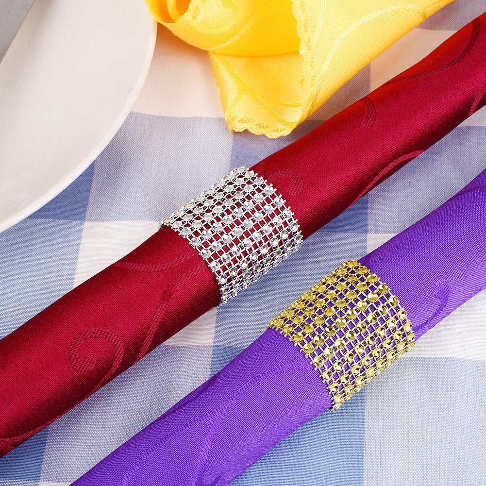 10pcs Rhinestone Designed Napkin Ring Holder Dinner Party Wedding Banquet Table - Deals Blast