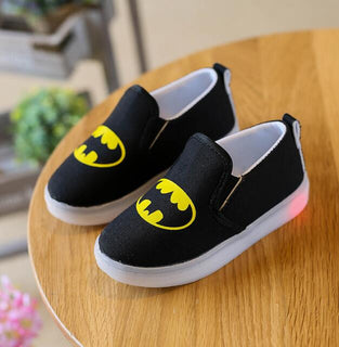 Hot SALE Boys Shoes With LED Light Spring Autumn Spiderman Lighted Fashion Canvas Sneakers Kids Sport Lighting Shoes EU 21-30 - Deals Blast
