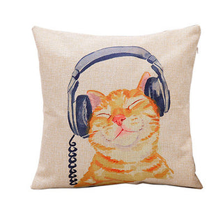 Lovely Cat Decorative Cushion Cotton Linen Square Throw Pillow Cover 45x45cm - Deals Blast