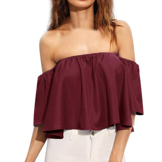 Blouse Women Slash Neck Casual Sexy Off Shoulder Top Flare Sleeve Summer Women Blouses Plus Size Women Clothing: Deals Blast