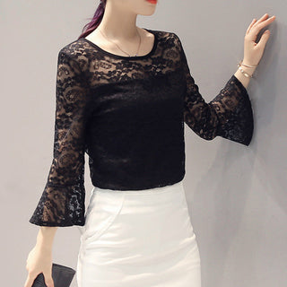 Lace Blouses Femininas Sexy Lace Basic Shirts Women Flare Sleeve O-neck Blouse Plus Size Women Clothing Blusas 4 Colors: Deals Blast