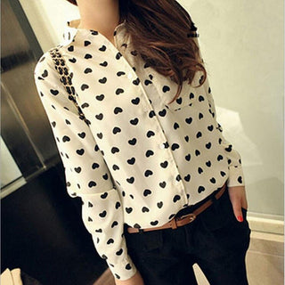 2017 New White blusas Women long Sleeve Chiffon blouse love Heart printing women blouses plus size women clothing - Deals Blast