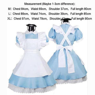 Halloween Women Adult Anime Alice In Wonderland Blue Party Dress Alice Dream Women Sissy Maid Lolita Cosplay Costume - Deals Blast
