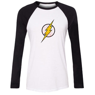 iDzn New Hot Women's Casual T-shirt DC. Comic the Flash Symbol Super Hero Pattern Raglan Long Sleeve Girls T shirt Lady Tee Tops: Deals Blast