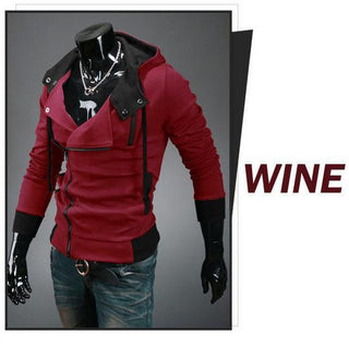 Sweatshirt new brand hoodies double zipper moleton masculino patchwork long sleeve slim hoodie assassins creed Free shipping - Deals Blast