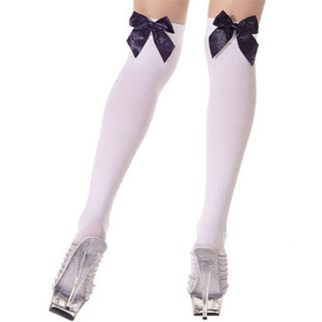 2017 New Fashion BLack Red White Sexy Stockings Thigh High Sheer Bow Stockings Hosiery Nets Stay Up For Sweet Lady Girls Hot - Deals Blast