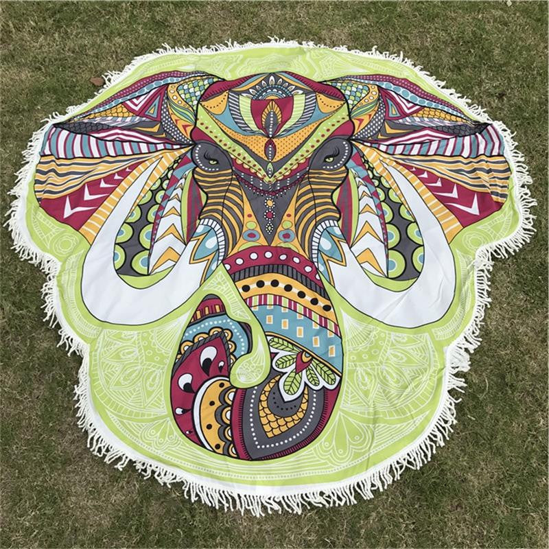 1Pcs New Bohemia Wall Hanging India Mandala Blanket Elephant Tapestry Rainbow Stripes Travel Summer Beach Throw Towel Yoga Mat - Deals Blast