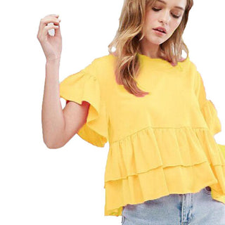 2017 New Arrival Women Blouse Shirt Petal Short Sleeve Ruched Casual Yellow Loose O-Neck Shirt Women Shirt Tops Tees - Deals Blast