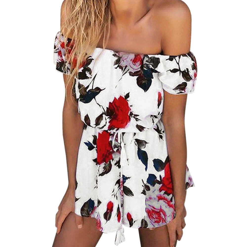 2017 Sexy Off Shoulder White Playsuits Women Summer Beach Floral Print Jumpsuit Sexy Clubwear Bodycon Romper womens jumpsuit - Deals Blast