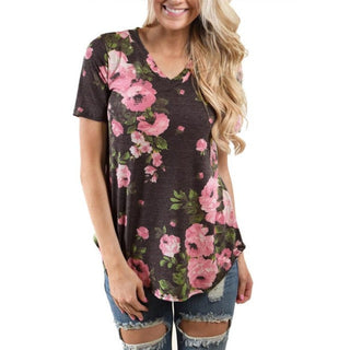 2017 Summer Floral Printed T-shirt Sexy Deep V Neck Cotton Tops Casual Short Sleeve Harajuku Tumblr Tops Tees Female Ladies - Deals Blast