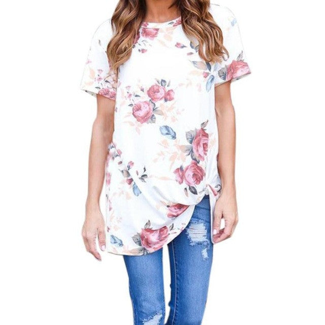 5b98e2121c7 2017 Summer T Shirt Women Flowers Printed Shirt Causal O-Neck Short Sleeve  Blusa Hot