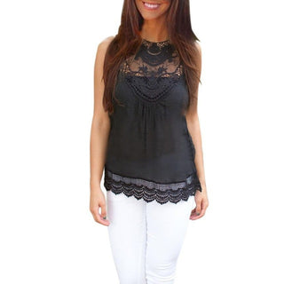Summer Women Blouse Fashion Black Tops Sleeveless Blouse Casual Lace Blouse Top woman: Deals Blast