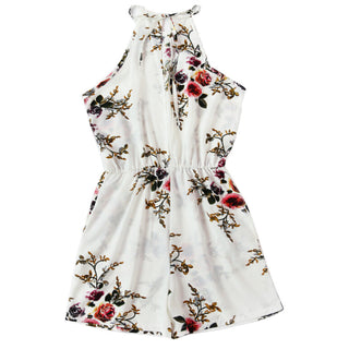 Women Backless White Playsuit 2017 Summer Bodycon Beach Short Jumpsuit Sexy Backless Flower Printing Romper Trouser