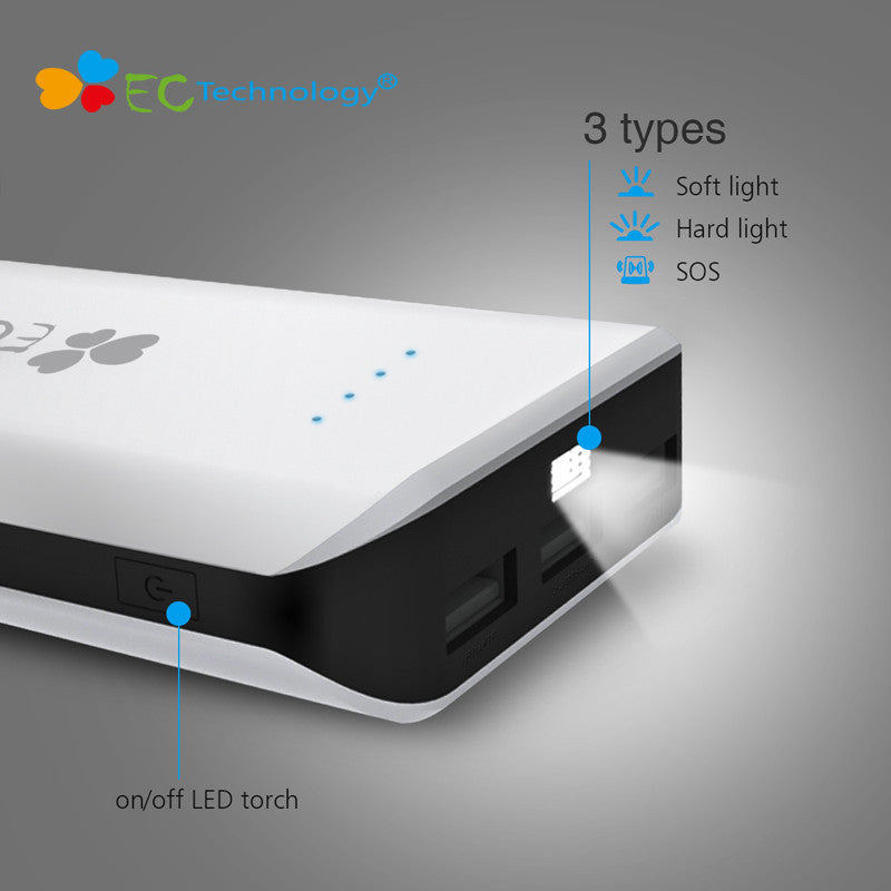18650 Power Bank EC Technology Powerbank 20000mah High Capacity Portable Charger Smart Phone Batterie Externe With LED Light - Deals Blast