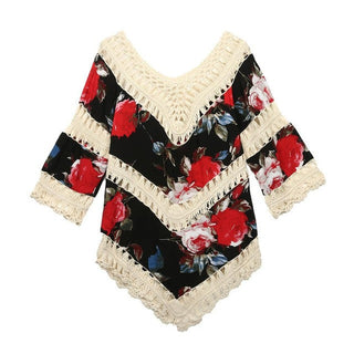 Sexy Off Shoulder Blouse 2017 Women V Neck Hollow Crochet Floral Printed Casual Beach Clothes Tops Three Quarter Knitted kimono - Deals Blast