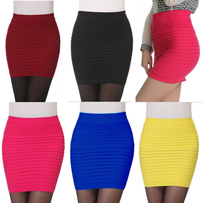 1PC Fashion Women's Skirt  Elastic Pleated High Waist Package Hip Short  Ladies Skirts for women girls 2017 skirts womens - Deals Blast