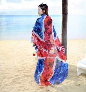 Western flag designed long scarves and shawls personalized character pattern voile wraps famous brand bufandas echarpe for women - Deals Blast