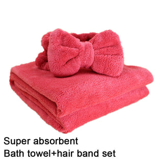 Lovely Bow Headband Bath Towel Set super Absorbent Shower caps Women kids soft Bath SPA Wrap towel make-up hair bands beam towel - Deals Blast