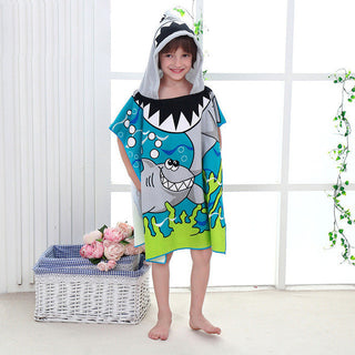 New Children Cute Cartoon Hooded Cloak Beach Towel Animal Printed Microfiber Baby Boys Girls Kids Swimming Bath Towel 120x60cm - Deals Blast