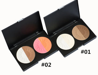 2 Colors 3D Blusher Palette Makeup Shimmer &Matte Blush Palette Face Bronzer Shimmer With Bare Mineral Power - Deals Blast