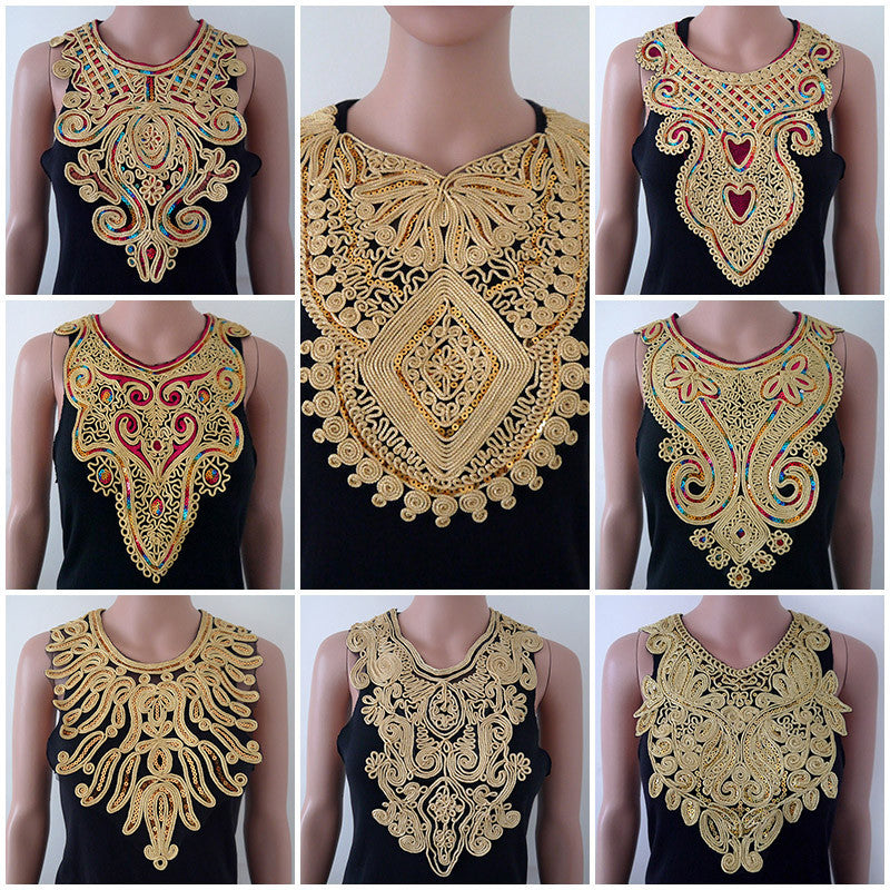 1pc Craft Golden Collar Sequin Floral Embroidered Applique Trim Decorated Lace Neckline Collar Sewing Free Shipping - Deals Blast
