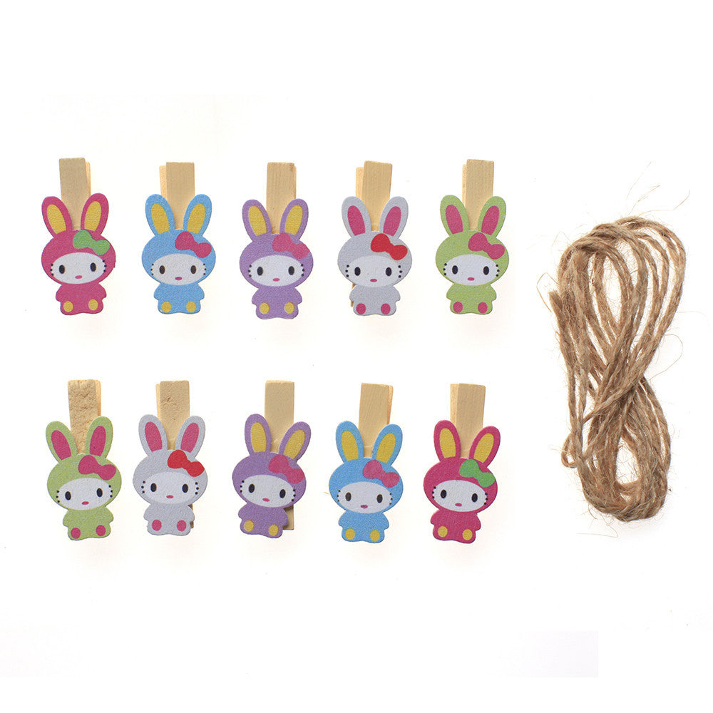 10 wooden clips socks basked wooden clamp cartoon rabbit wooden clip wedding party picture clip with hemp rope - Deals Blast