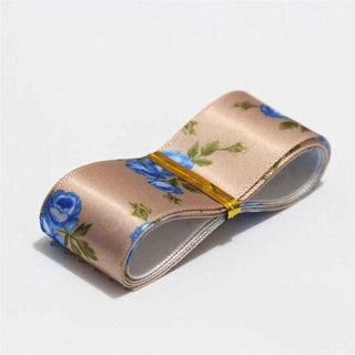 New Rose Printed Stain Ribbon Silk Wedding Party Packing Belt Decoration Gift Wrapping Christmas New Year Hair Bow DIY Material - Deals Blast