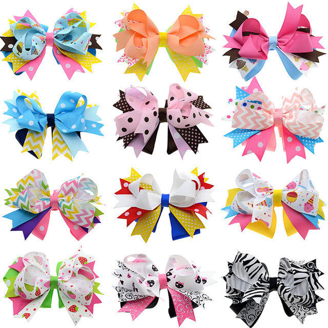 12PCS 4.5-5 inch Loopy Spike Hair Bows Alligator Clip Birthday Hair Clips Women Hair Pin Luxury Dance Hair Accessories for Girls - Deals Blast