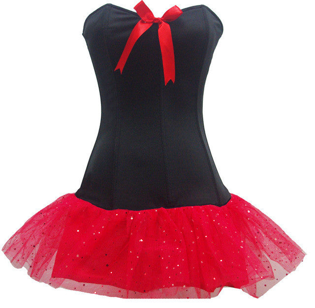 b121a209a3 Sexy Women one-piece Cute Corset Tutu feature strapless bustier corset top  with red satin